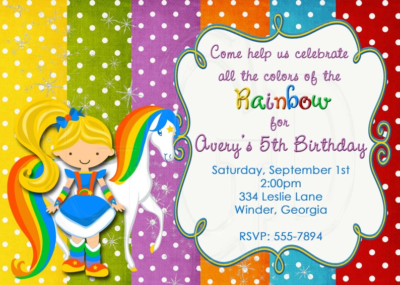 Rainbow Brite Inspired Birthday Invitation