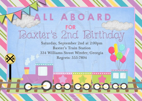 train invitation birthday girl train invite choo choo etsy