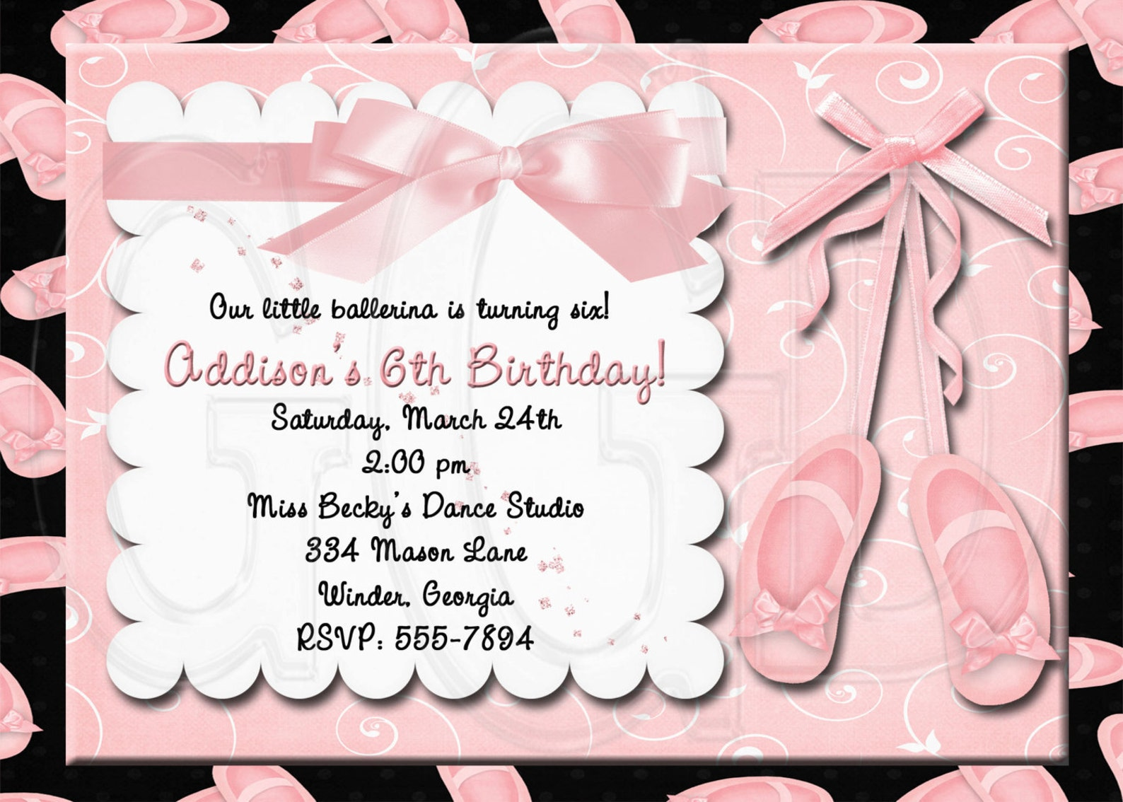 ballet invitation, ballerina birthday party, ballet slippers invite, ballet invitation, ballet birthday party, ballet invite -di