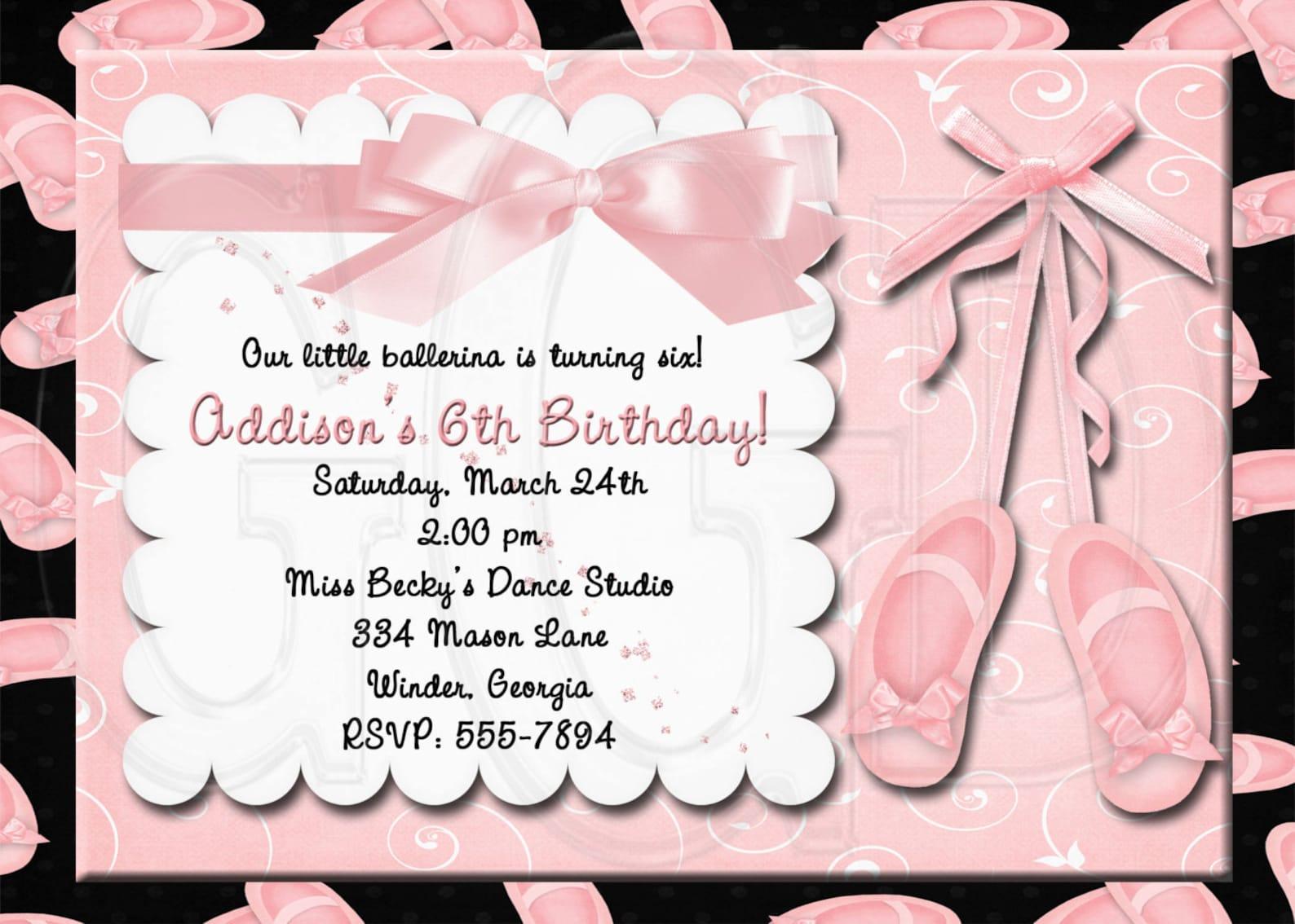 ballet invitation, ballerina birthday party, ballet slippers invite, ballet invitation, ballet birthday party, ballet invite -di