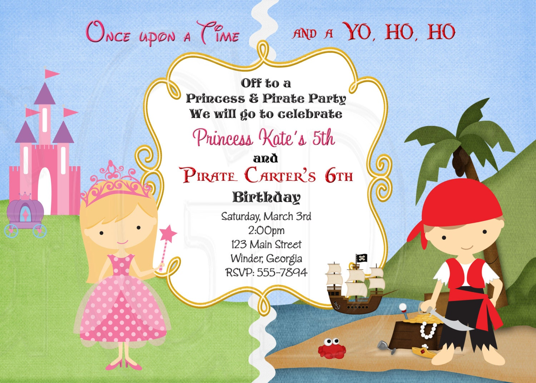 Pirate And Princess Birthday Invitation Pirate Princess Etsy