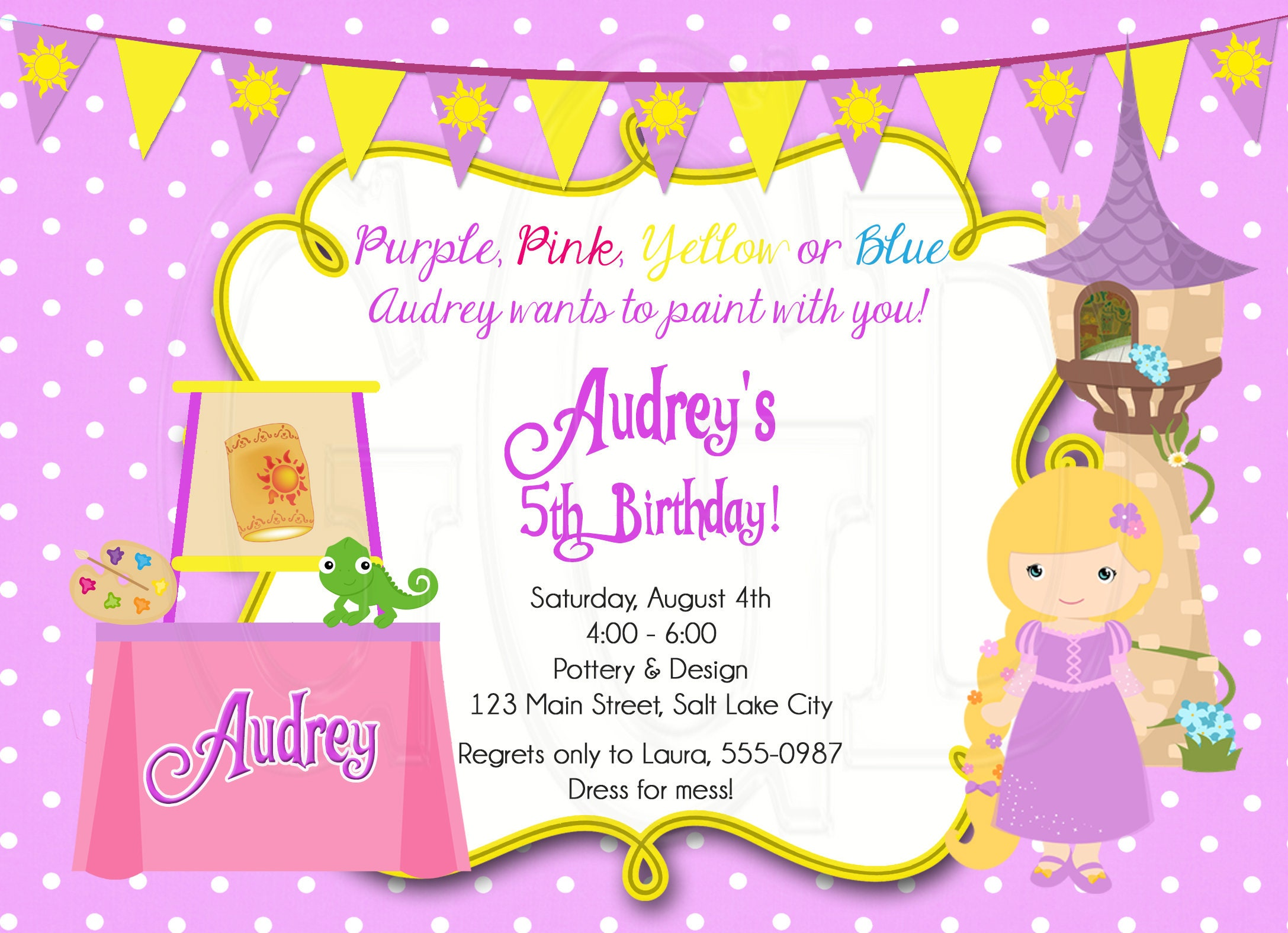 Rapunzel Pottery painting Invitation pottery birthday party | Etsy