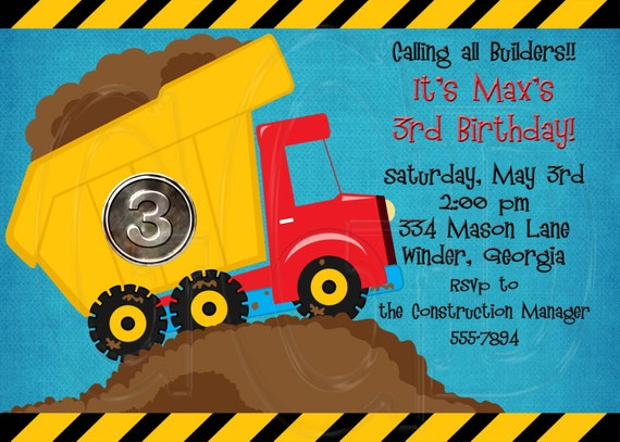 dump truck party construction theme birthday party etsy