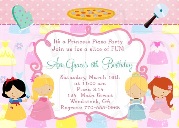 princess pizza party invitation princess pizza invite etsy