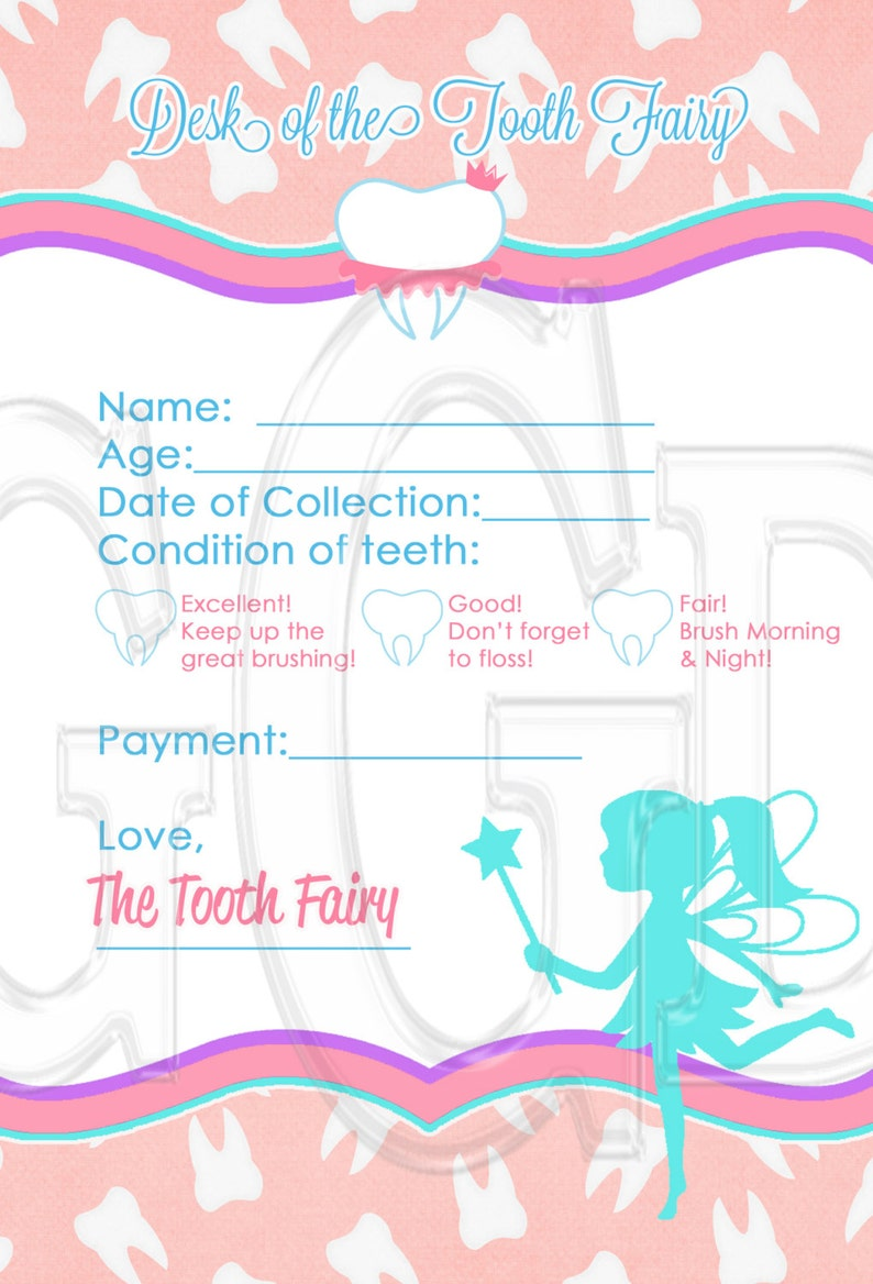 picture regarding Tooth Fairy Card Printable identify Teeth Fairy Receipt, prompt down load teeth fairy, teeth fairy card, simple enamel fairy printable, PRINTABLE Electronic Report Prompt Down load