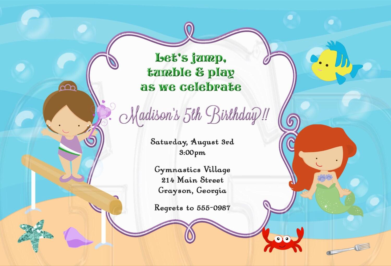 Ariel Gymnastics Invitation mermaid birthday party Mermaid | Etsy