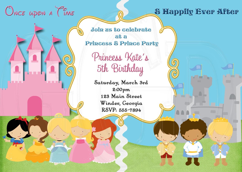 Princess and Prince Invitation Siblings invitation Royal | Etsy