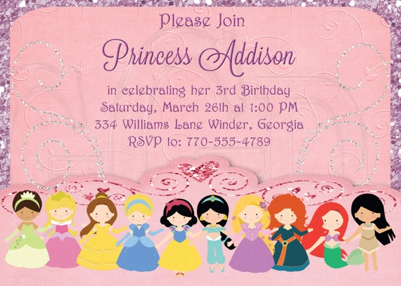 Royale Invitation Princesse Disney Princess Invitation Etsy