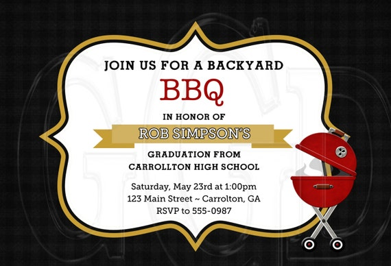 bbq graduation bbq birthday bbq retirement party invitation etsy
