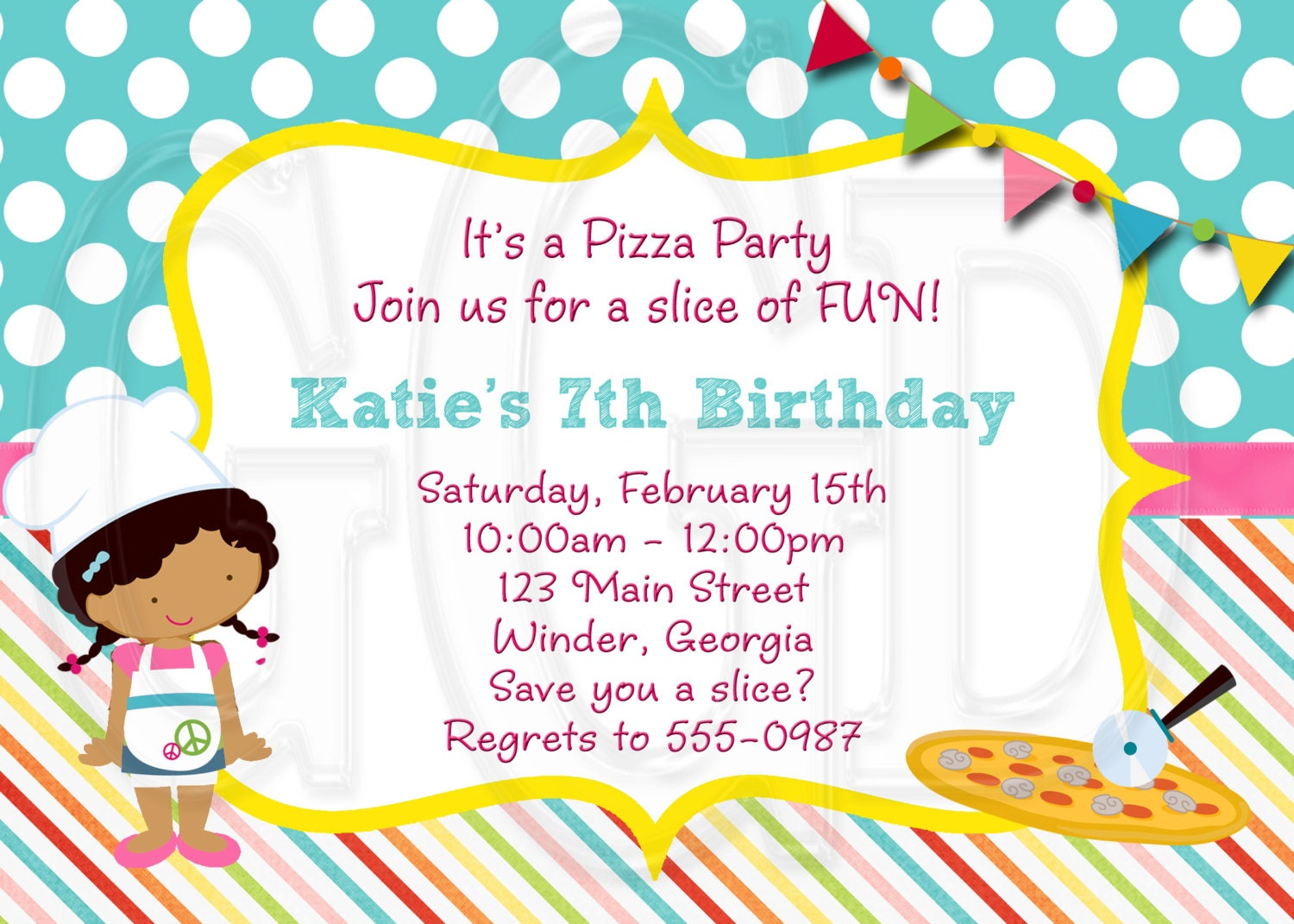 Pizza Party Invitation Little Girl Pizza Party Pizza Etsy