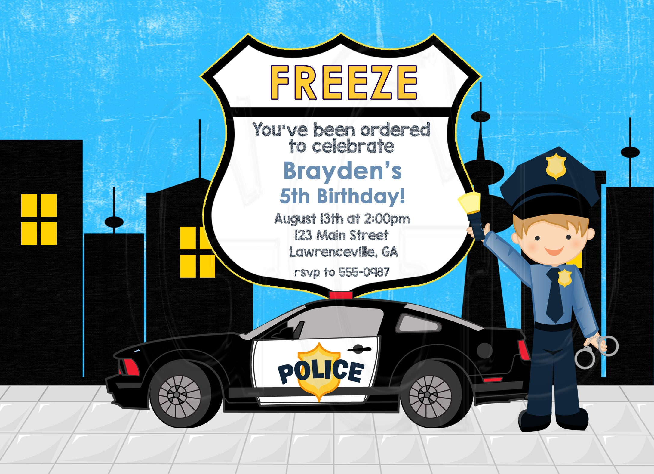 Police Invitation Police Birthday Party Cop Invite Cop Theme Party Little Boy Police Party Policeman Invite Police Theme Digital File
