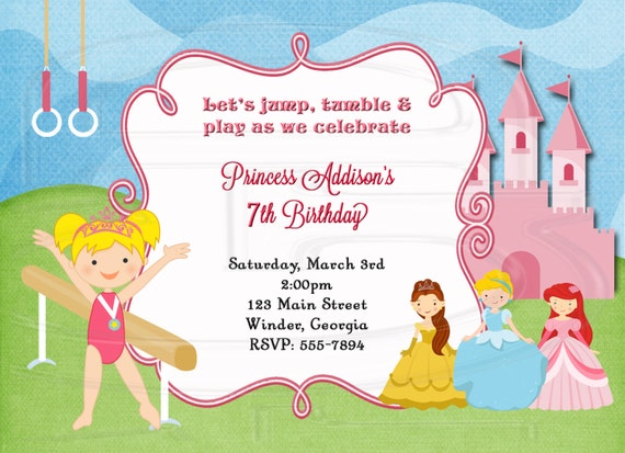 Princess Gymnastics Birthday Invitation