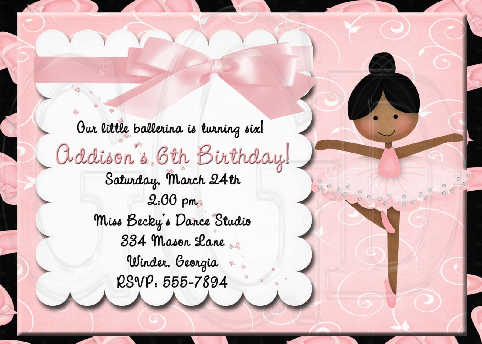 ballet invitation birthday-digital file