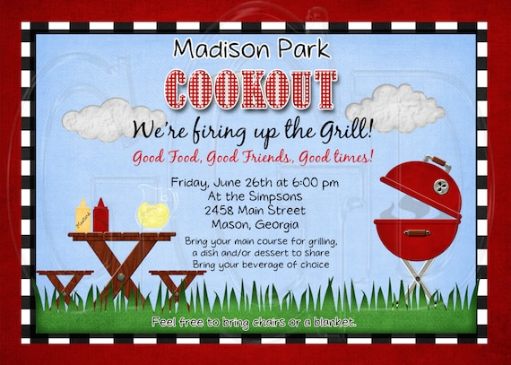 cookout invitation neighborhood bbq invite bbq invitation etsy