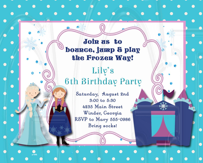 Ice Princess Frozen Bounce House Birthday Invitation Digital | Etsy
