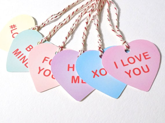Candy Heart Gift Tags Valentine S Day Gift Tag Digital Etsy
