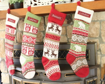 size b red reindeer 26 27 long knitted pottery barn free monogram fair isle stocking