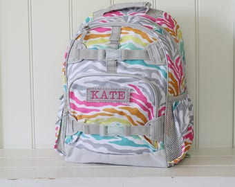 Small Size Pottery Barn Backpack With Monogram Rainbow Zebra