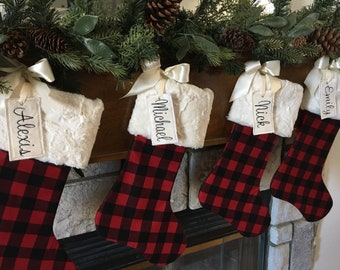 plaid christmas stockingchristmas stocking personalized christmas stocking farmhouse christmas stocking buffalo check christmas stocking