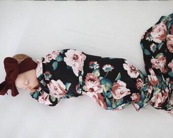 d05d49e7e Floral Swaddle Set, Maueve Floral Swaddle Set, Swaddle Blanket and Hat  Newborn, Newborn Girl Mauve Rose Swaddle Set, Baby Shower Gift, Photo