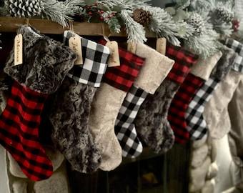 Buffalo check  stocking, Plaid Christmas stocking, personalized Fur Christmas stocking,farmhouse Christmas stocking, Personalized Wood tag