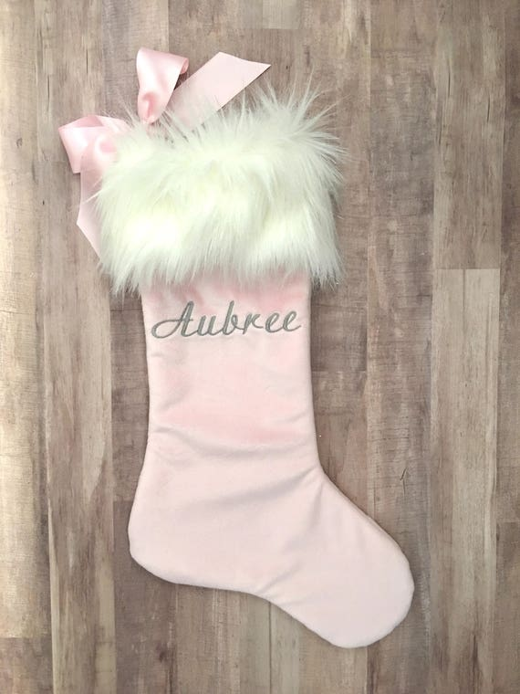 Pink Christmas Stocking.Pink Christmas Stocking Personalized Christmas Stocking Faux Fur Christmas Stocking