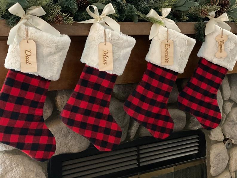 Buffalo check  stocking Plaid Christmas stocking image 0
