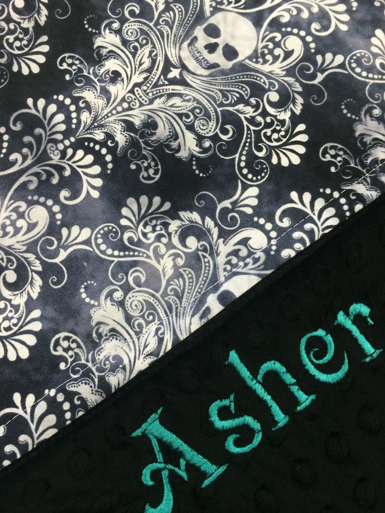 Personalized Black /& White Skulls Minky Blanket  Baby Shower Gift
