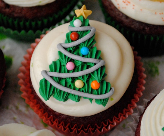 Royal Icing Decorations Christmas Tree Cupcake Toppers | Etsy