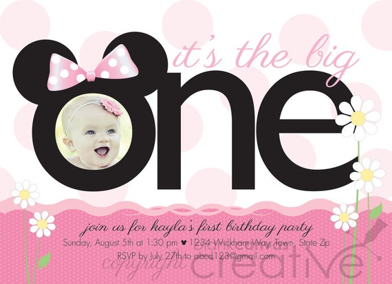 First Birthday Invitation Minnie Mickey Mouse 1st
