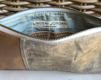 Dark TAN waxed LINEN & natural/tan colored sheepskin LEATHER wristlet pouch: tan/sand pockets   gold and light blue striped lining