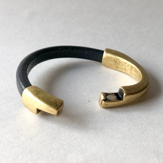 Thick Leather Bracelet Genuine Leather Jewelry Gift for Her Large Antique Brass Snaffle Bit Bracelet with Black Leather Cuff