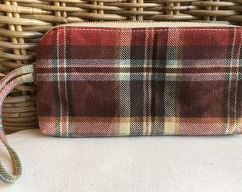 RED and brown plaid WAXED CANVAS wristlet/clutch purse: green pockets   blue and gold patterned cotton lining