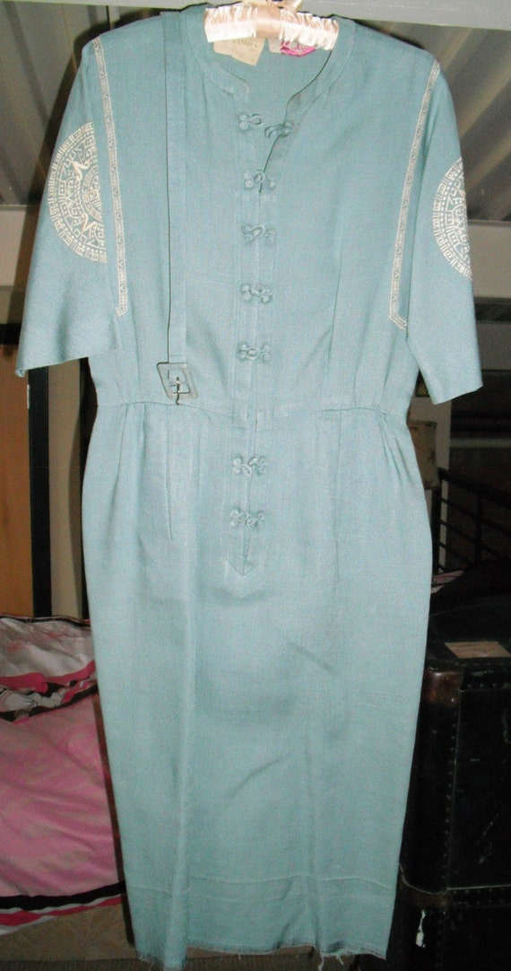 1940s Carlye Asian Inspired Light Blue Moygashel I