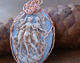 Three Graces Cameo Pendant in Blue with Copper