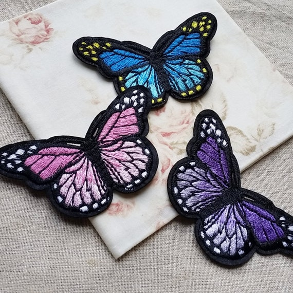Lot 3 Light Blue Butterfly Embroidery Applique Patch
