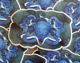 CLEARANCE Octopus Sticker 'Hidden Treasure', fantasy art, sticker, illustration, mermaid decor, bumper sticker