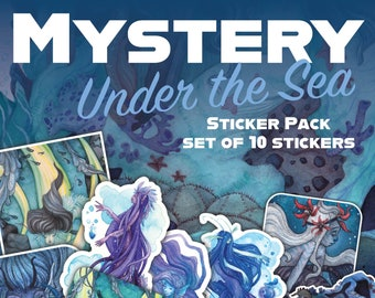 CLEARANCE Under the Sea Mystery Sticker pack - set of 10 vinyl stickers, bumper sticker, cute stickers, vinyl stickers, sticker set