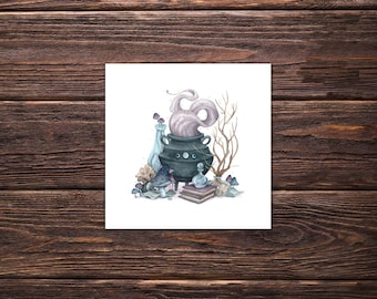 Witchy Art Print 'Witches Brew', wicca decor, witchcraft, witchy decor, cauldron