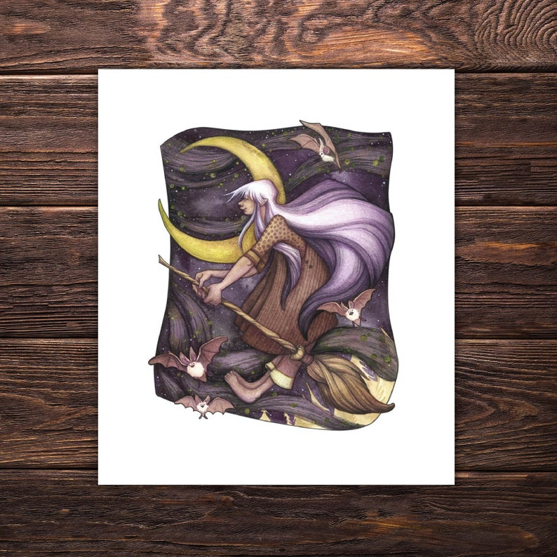 Witchy Art Print 'Whispers in the Wind', wicca decor, magick, witchcraft  decor, broomstick, bat love