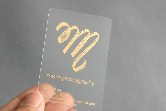 100 business cards frosted plastic stock with gold or etsy image 0 reheart Image collections