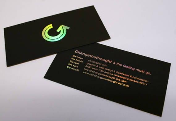 100 Business Cards Black 14pt 16pt Matte Stock Hologram Etsy