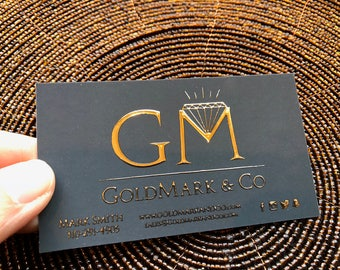 Foil business cards etsy 500 business cards raised gold silver or holographic metallic foil embossed 16 pt suede colourmoves
