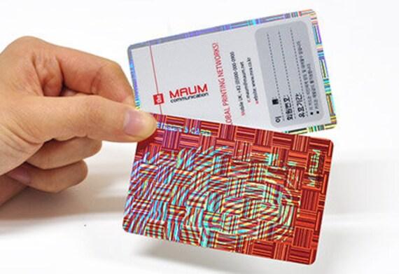 200 Visitenkarten Hologramm Holographische Kunststoff Lager W Abgerundete Ecken Benutzerdefinierte Gedruckte Farbige Tinte Iridiscent Weiße Tinte