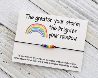 The greater your storm the brighter the rainbow wish bracelet
