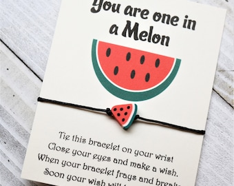 Watermelon wish bracelet You are one in a melon with a watermelon bead wish bracelet