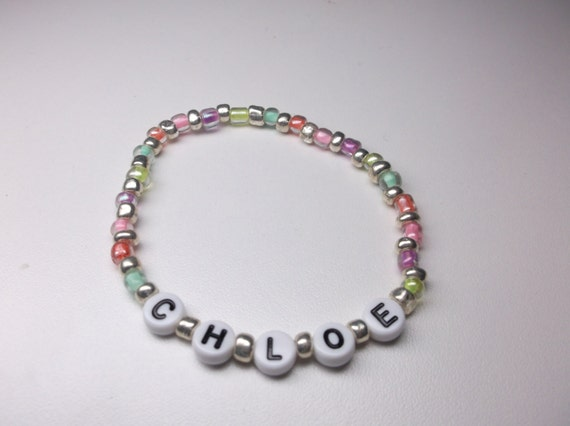 Personalized name bracelet girls beaded name bracelet girls bracelet