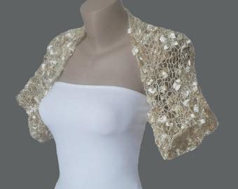 Champagne Bolero - Champagne Shrug - Champagne Bolero Shrug - Champagne Jacket - Champagne Bridal Shrug - Champagne Bridal Bolero