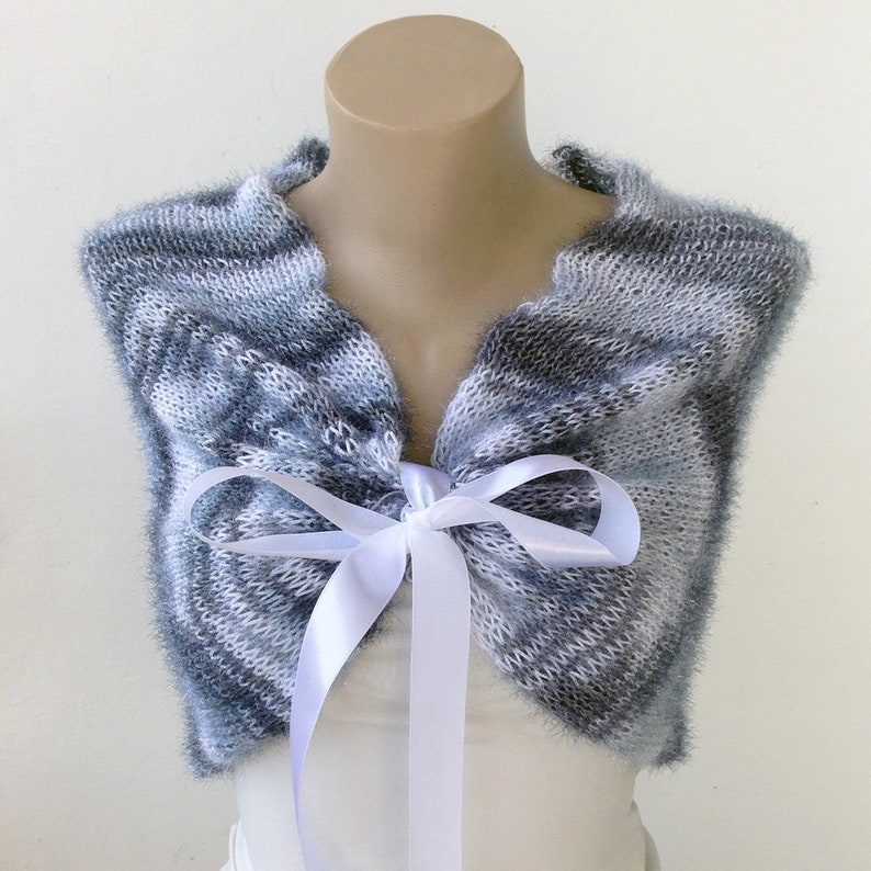 Silver Wrap Shawl Gray Bridal Stole Knit Gray Shawl Knit Wedding Shaw Wedding Knit Wrap Bridal Stole Bridal Cover up Wedding Mink
