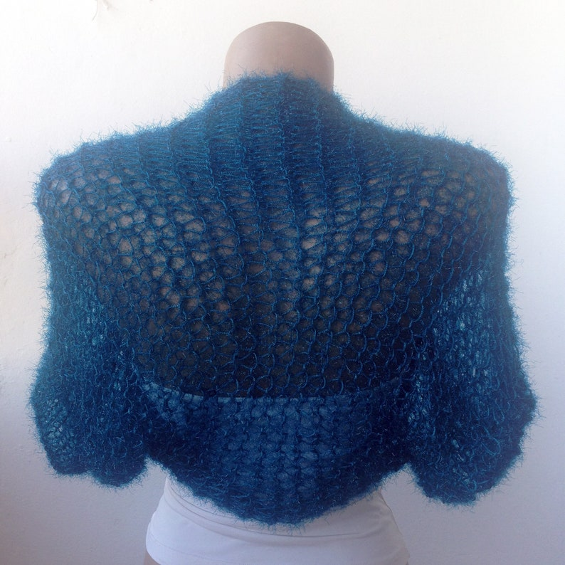 Blue Winter Shrug Knit Wedding Shrug Blue Wedding Bolero Blue Wedding Shrug Winter Wedding Knit Wedding Bolero Knit Winter Shrug